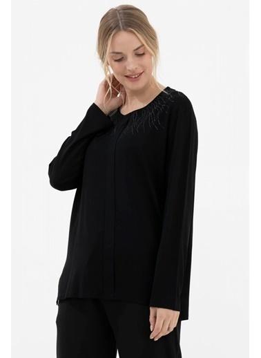 Sementa Yakası Taş Detaylı Uzun Kol Bluz - Siyah Siyah